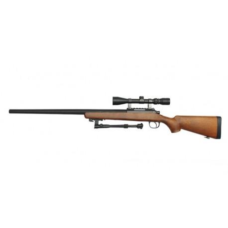 Replica Sniper MB03 Wooden Style cu Bipod si Luneta Well
