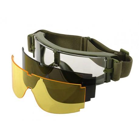 Ochelari Tip Goggles 3 Lentile Rama Olive PJ