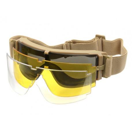 Ochelari Tip Goggles 3 Lentile Rama Tan PJ