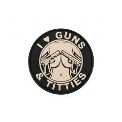 Patch I love Gun Tits Alb