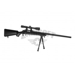 Replica Sniper MB03 Neagra cu Bipod si Luneta Well