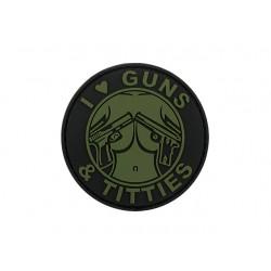 Patch I love Gun Tits Olive
